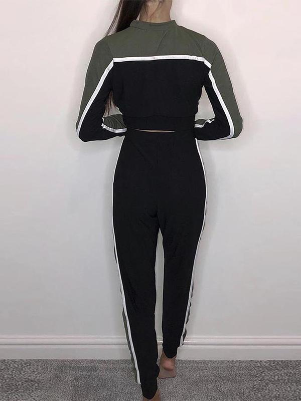Round collar cropped splicing color block tie sport suit
