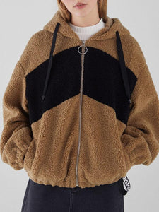 Hooded drawstring drop-shoulder sleeve zipper plush coat