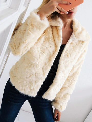 Turn-down collar thickened faux fur short coat