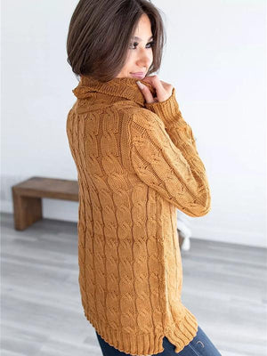 High-necked twist woven mid-length sweater