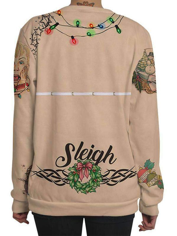 Christmas digit print 3D imitation long sleeve top