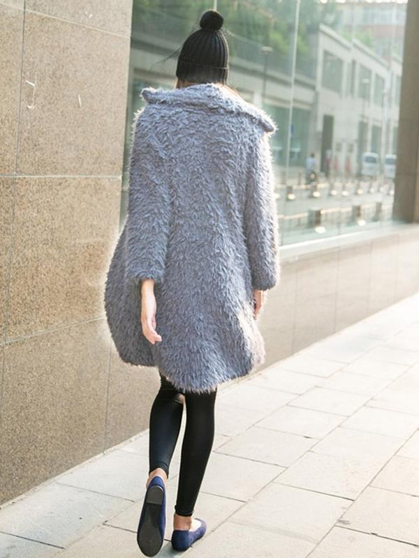 Turn-down collar thickened mid-length plush coat