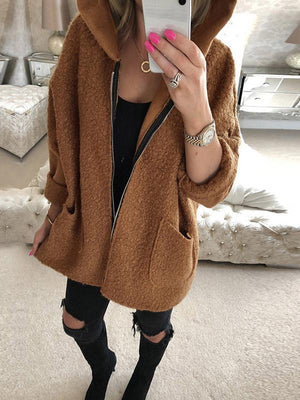 Three-quarter hooded zipper double pocket fuzzy coat
