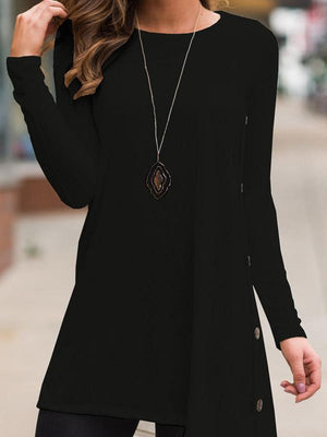 Round collar side slit irregular tops