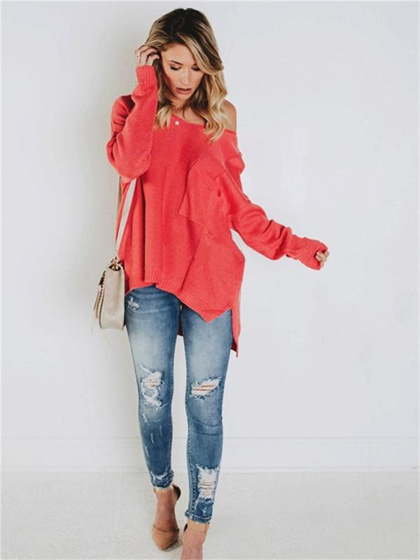 V-neck single pocket drop-shoulder sleeve slit sweater