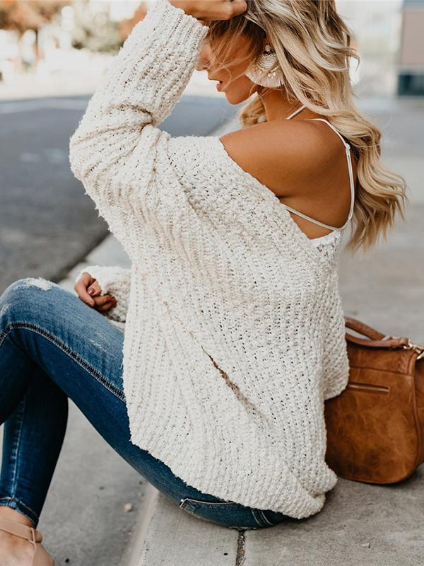V-neck hollowed-out sweater
