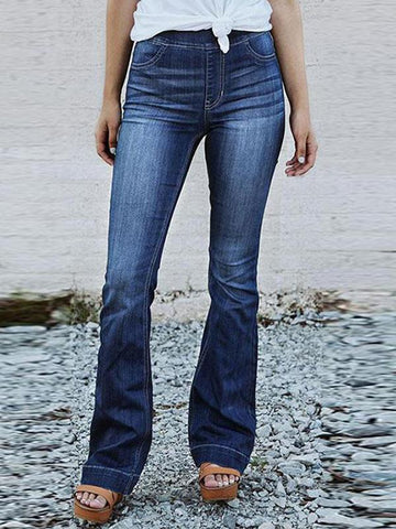 Wide-leg washing flared jeans