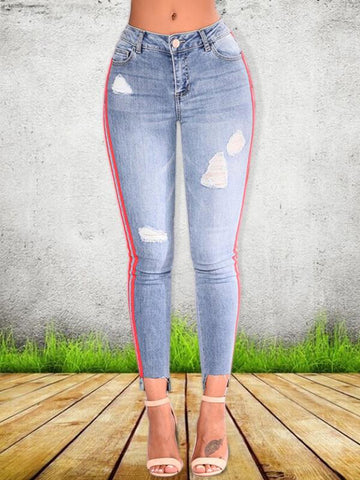 Distressed braided splicing irregular pencil jeans