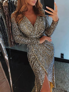 Shiny sexy V-neck high slit slim-fit dress