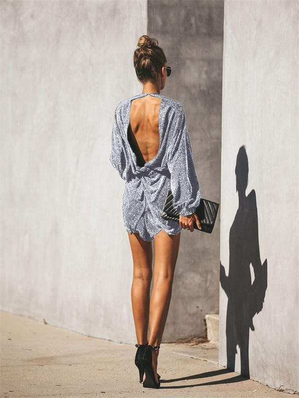 Backless V-neck shiny batwing long sleeve cross irregular rompers