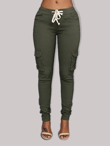 Lace-up side pocket work casual pants