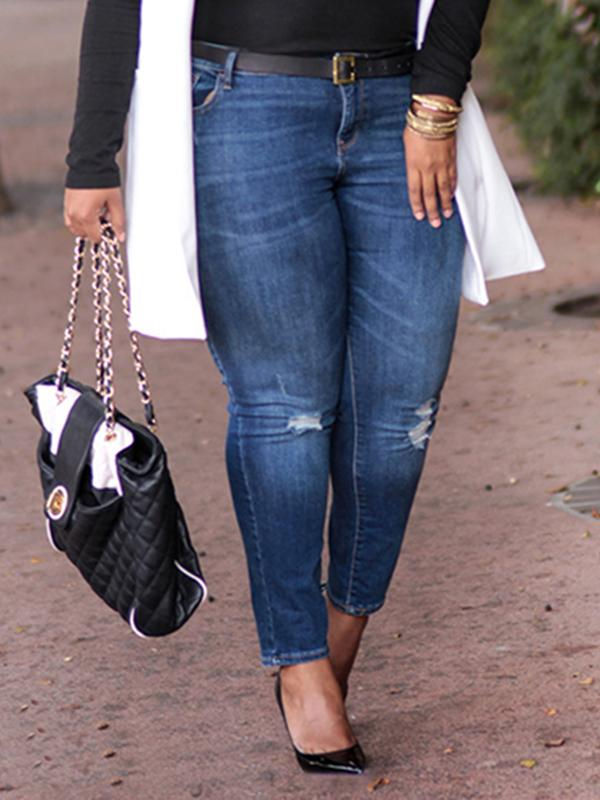 Plus size ripped washable jeans