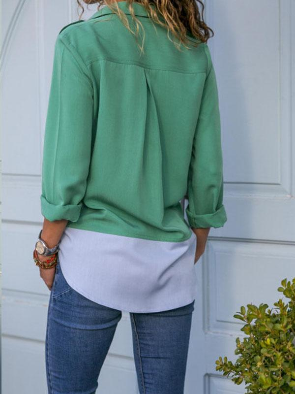 Color block pocket casual blouse