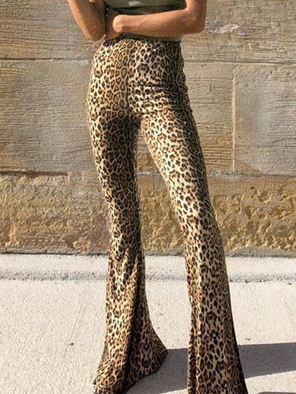 High waist leopard print flared pants