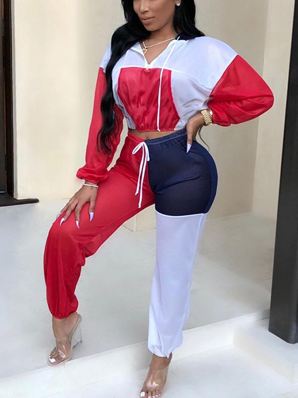 Hooded  cropped color block splicing sexy  sportswear suit