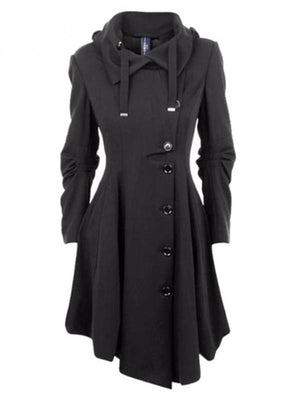 Lapel hooded drawstring asymmetrical buttoned coat