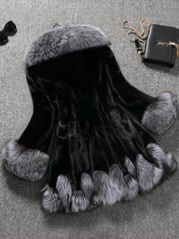 Hooded faux fur splicing coat