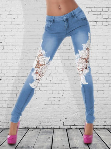 Sexy lace splicing washing denim pencil jeans