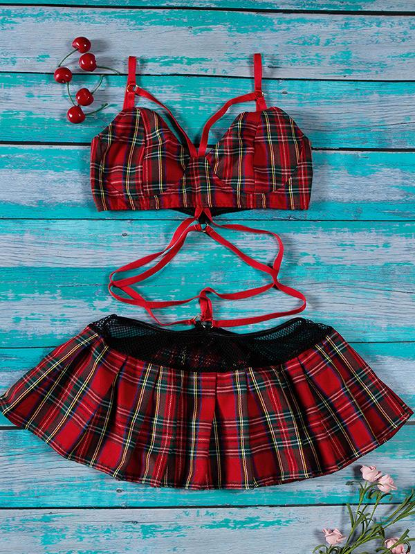 Sexy String plaid sexy bra sets