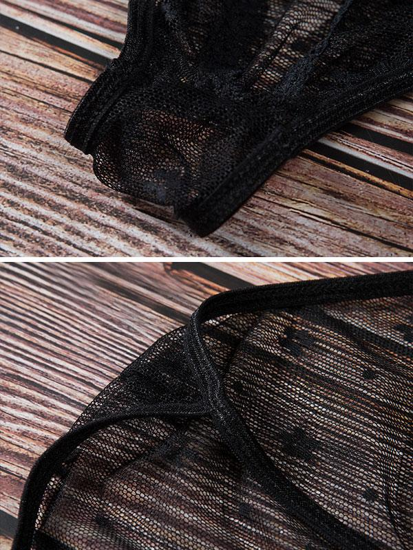 Sexy lace frills deep-V split hollowed-out sexy teddies