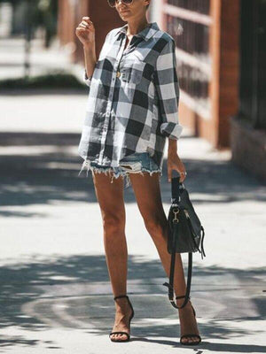 Plaid single-pocket three-quarter-length blouse