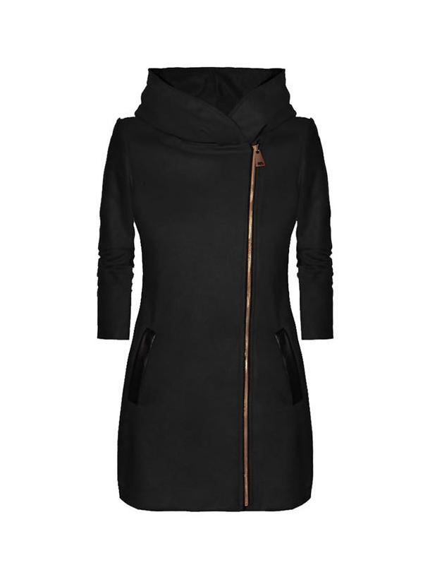 Hooded asymmetrical zip-up double pocket fuzzy coat