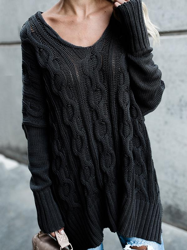 Round collar twist slit sweater
