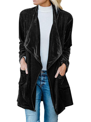 Pleuche lapel double pockets coat