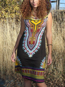Hooded sleeveless print Bohemia dress