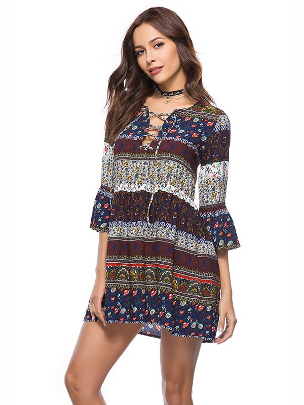 V-neck cross lace-up flare sleeve print Bohemia dress