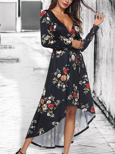 irregular V-collar criss cross waist tie print Bohemia dress