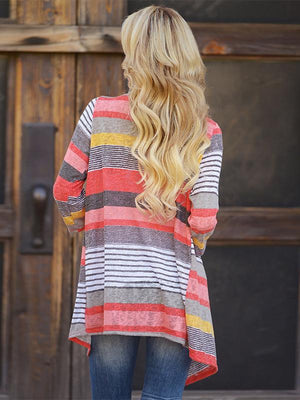 V-collar color striped asymmetric knitted coat
