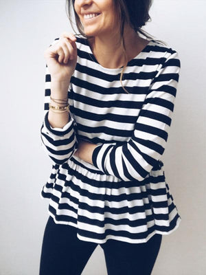 Round collar striped splicing floral T shirt