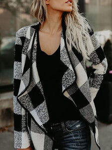 Lapel plaid woolen jacket