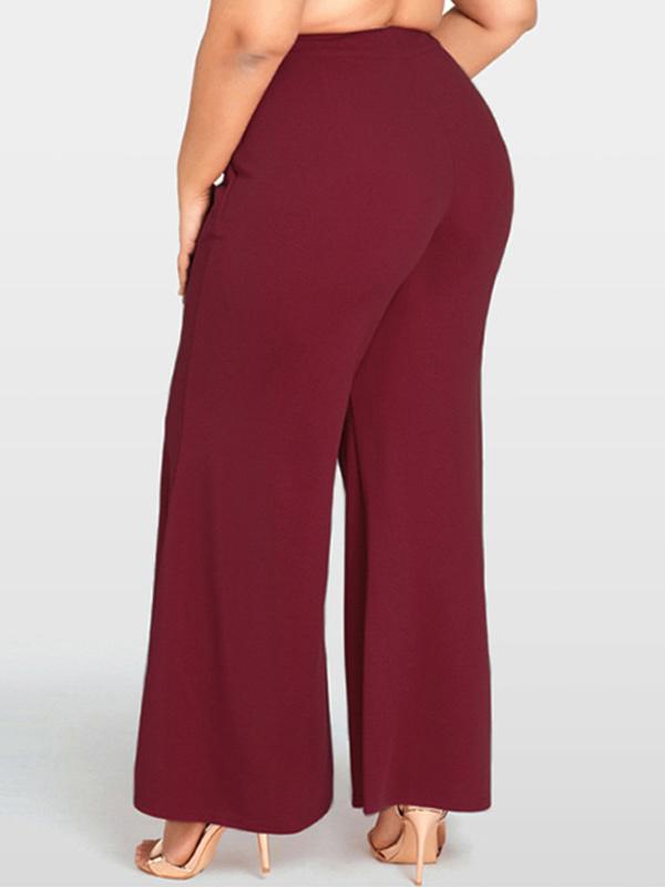 Plus size zipper pocket loose flared pants