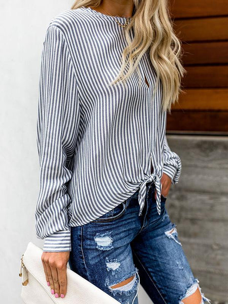 Round collar half open striped blouse with tie detail