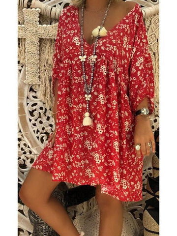 V-collar off shoulder three-quarter sleeve loose floral print dress