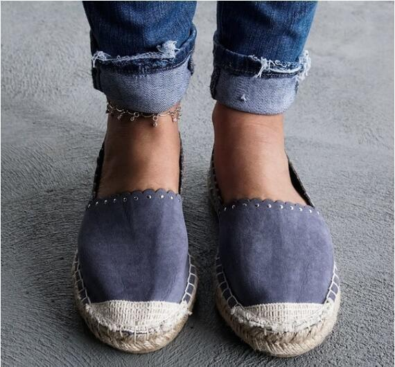 Low-cut rivets loafers espadrillesf flat shoes