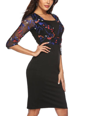 Embroidery lace splicing sleeve bodycon dress