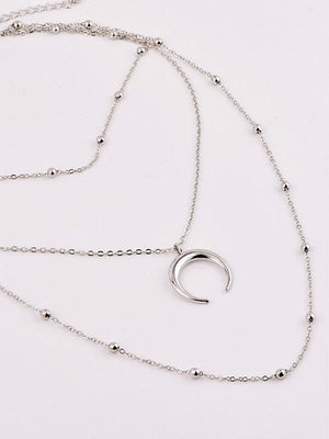 Beads Chain Moon Multi-layer Choker Necklace