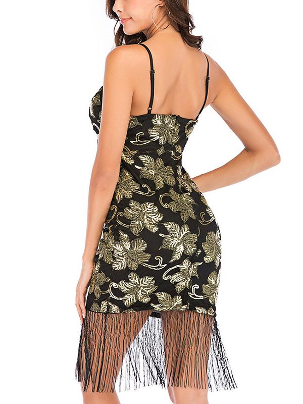 Sexy sequined embroidery tassels bodycon slip dress