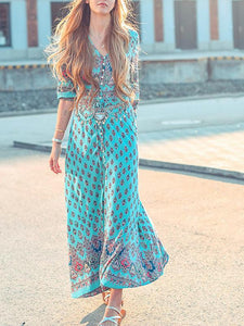 V-neck button through print Bohemia dress