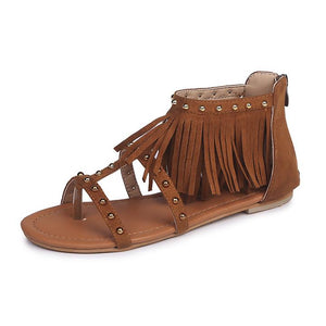 Rivets tassels high-top zipper flat thong sandals