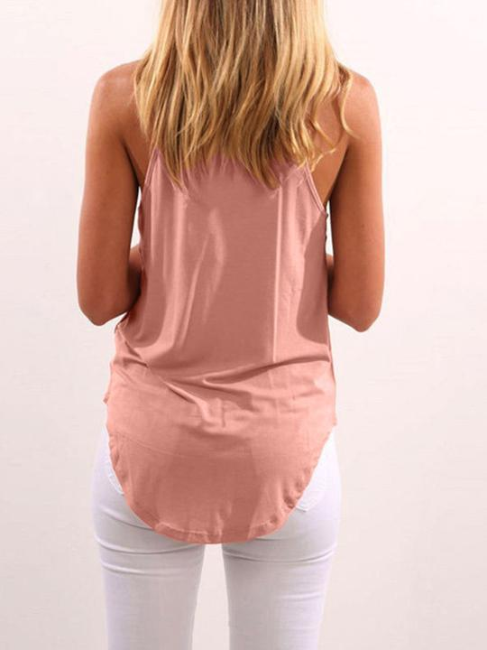 Halter Asymmetric Hem Plain Sleeveless T-Shirt