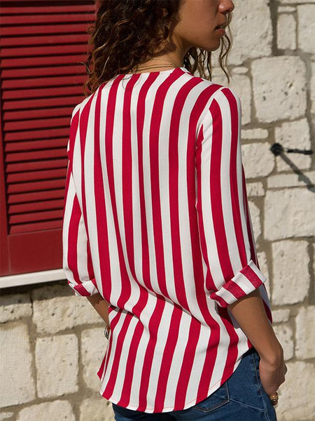 V-collar overlap striped blouse