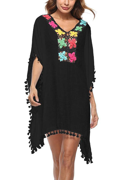 V-Neck tassel applique hollow out shift casaul dress