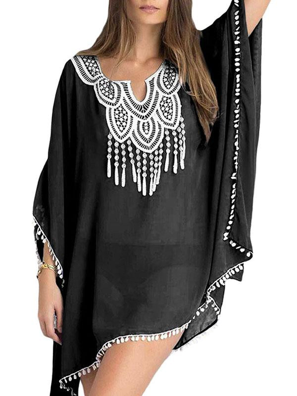 Embroidery splicing bat-wing loose tassel chiffon causal dress
