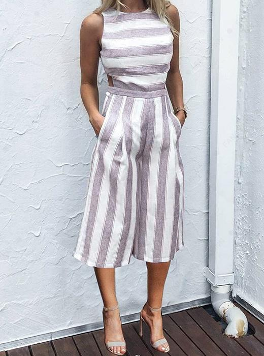Sexy backless sleeveless pocket wide-leg stripes jumpsuit