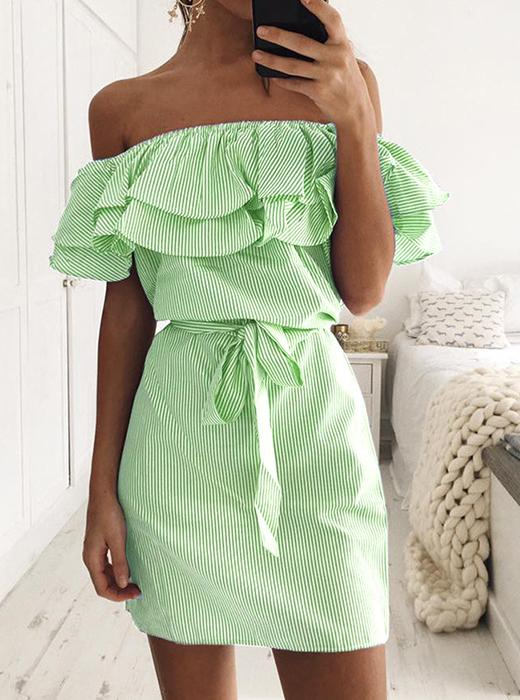 Off Shoulder Falbala Tie Belt Stripes Dress
