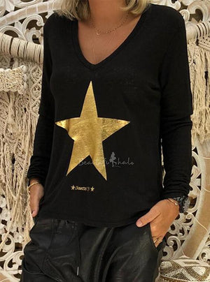 Simple Five-Point Star Pattern V-Neck Long Sleeve T-Shirt